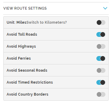 Mapquest Route Planner Settings